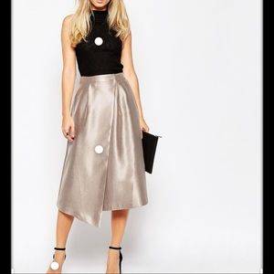 ASOS Midi Skirt with Aysmmetric Wrap, Size 4